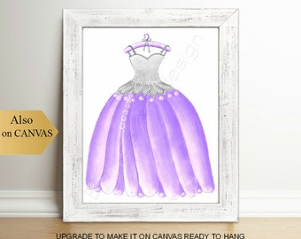 Princess Dress Art Print, Purple Girl Nursery, Girls room Decor, Kids Wall Art, Princess Art, Nursery Decor, Kids Decor, Nursery Wall Art