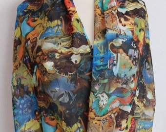 Salvador Dali Art Work Infinity scarf, Colorful Picture scarf, Circle scarf, spring - fall - summer - winter fashion