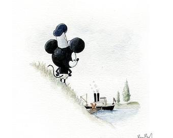 Steamboat Watercolor Print