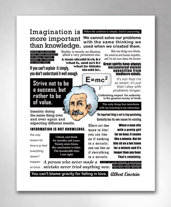 ALBERT EINSTEIN QUOTES Smart Funny Inspirational QuoteHeads Art Print 11x14 by Rob Ozborne