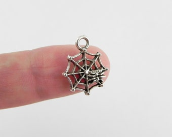 20 Spider Web Charms in Antique Silver  ~ 17mm x 13mm