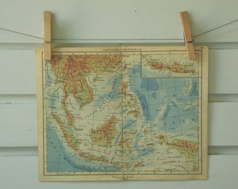1951 Vintage Map of Southeast Asia