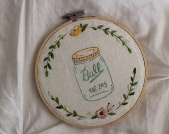 Custom Floral Wreath Embroidery Hoop