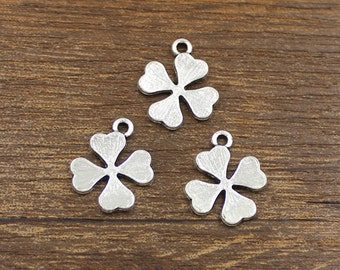 20pcs Four Leaf Clover Charms Antique Silver Tone 15x18mm - SH152