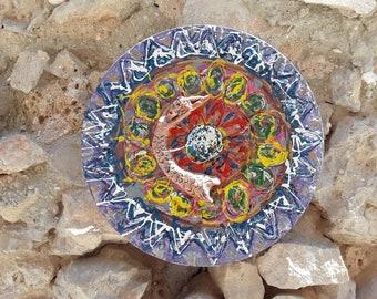 Mandala art circle materic abstract painting modern art relaxing flower passion