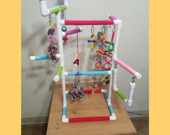 THE INDULGER Tabletop-Version: Fun Play Gym and Play Stand for Cockatiels, Conures, Parakeets, Lories and Small and Medium Birds PVC