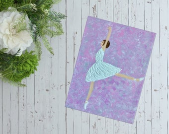 Stunning Ballerina Painting Ballet Dancer Painting, 9 x 12 Ballerina Wall Art Textured Painting