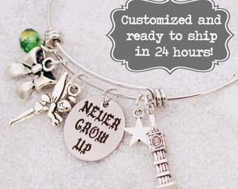 Never Grow Up Peter Pan Bracelet DISNEY Inspired, Bracelet, Tinkerbell, Custom Name Charm Bracelet, Adjustable Bangle