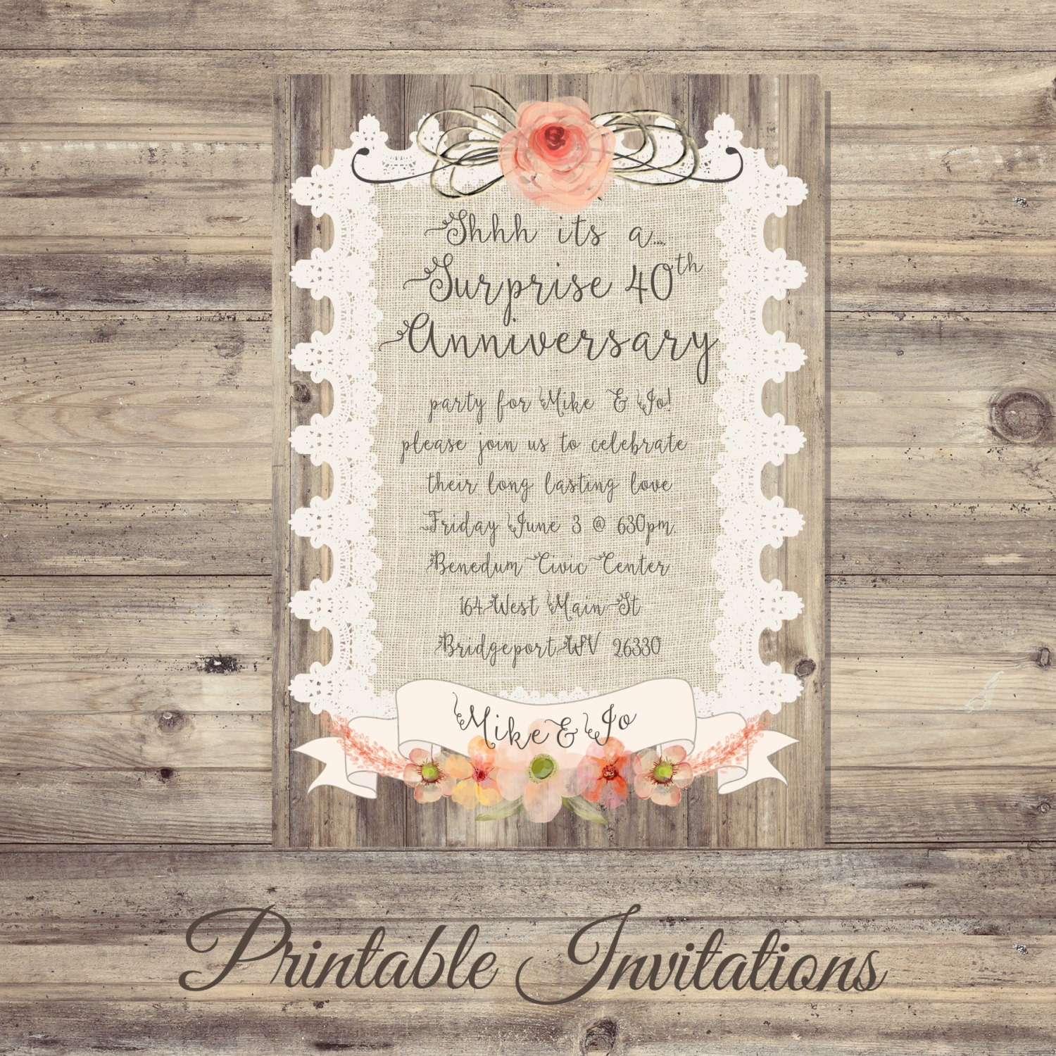 Surprise Gift For Wedding Anniversary: Surprise Anniversary Invitations Burlap And Lace Anniversary