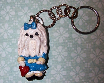 Whimsical Folk Art Maltese Dog Key Chain Keychain Ooak Jewelry Pendant Sculpture Boutique