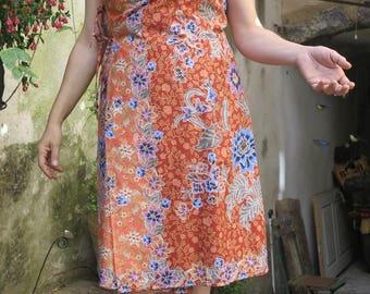 "Dress Kampot portfolio batik ""Tangerine"" size M - L"