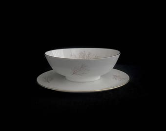 Vintage Mid Century Modern Rosenthal Porcelain Germany Selb Plossberg 3092 Raymond Loewy Design w/ Branches and Twigs White Serving Bowl