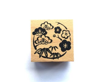 New Year Rubber Stamp -   Plum Blossom Pine Bamboo Stamp-  Traditional Japanese Rubber Stamp -