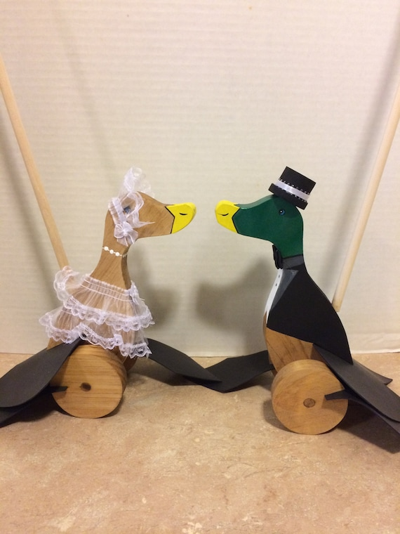 Push Toy, Toy Ducks, Push along Duck, Stick Toy, Child's Birthday Gift, Old fashioned Toy, Wedding Props, Bride and Groom, Christmas Gift