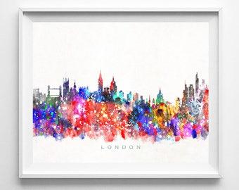London Skyline, Print, England Print, London Art, Cityscape, City Skyline, Wall Art, Giclee Art, Home Decor, Wall Decor, Fathers Day Gift