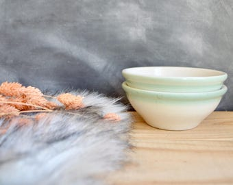 Pair of Vintage Bowls with Mint Green Ombre Fade by Walker China Vitrified