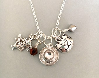 Alice in Wonderland inspired necklace-Alice charm necklace-Chesire cat-teapot necklace-Charm necklace-alice in wonderland jewelry-Easter