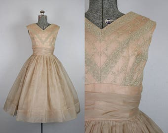 1950's Champagne and Mocha Organza Party Dress / Size Small