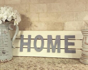 Rustic wood home letters sign