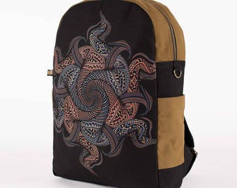 Canvas Backpack With Psychedelic Mandala Print, 13 inch Laptop Bag, 15 inch Laptop Bag, 17 inch Laptop Bag, Laptop Backpack, Round Backpack