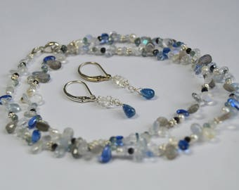 Beaded Onyx, Moonstone, Sapphire, Moss Aqua, Kyanite and Pearl Necklace with Sterling Silver and Free Earrings
