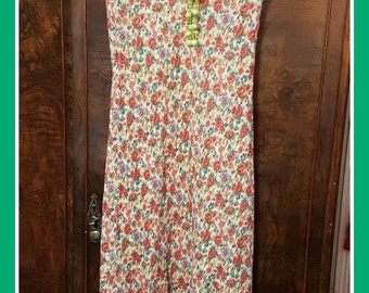 Ralph Lauren flower pattern lined in perfect condition Mid floral dress , Vintage flower dress, Multi colored dress size 8 rn 54050