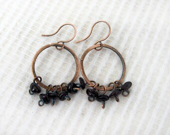 Hammered Copper Hoop Earrings with natural stone  Garnet jewelry January Birthstone Boho Jewelry rustic Wire wrap Simple jewelry women Gift