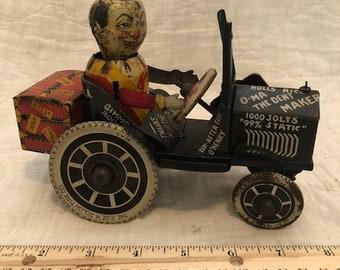 """Vintage Marx Joy Rider Tin College Boy Wind Up Toy Crazy Car 8"""" Working"""