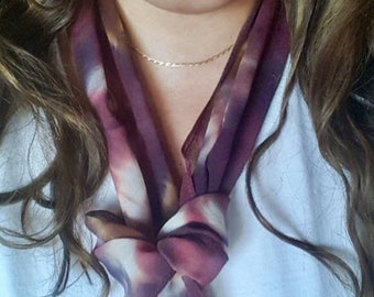 Rust with Chocolate Brown Tie Dye Silk Scarf