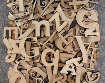Over 75 Small Random Wooden Letters 3mm Plywood 2-5cm Size Mixed Fonts