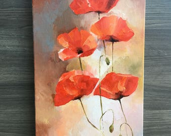 Fleurs Original peinture à l'huile Art coquelicot
