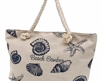 Monogrammed Canvas Tote Bag, Personalized Tote Bag, Bridesmaid Gift, Canvas Tote, Beach Bag, Overnight Bag, Blue Sea Shells Cavas Tote