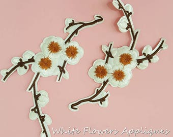 Iron on White Flowers Patches Appliques, Bloom Flowers Iron On Badge