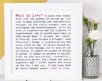 Love Poem Print; What Is Love?; Love Gift; Anniversary Gift; Wedding Gift; Gift For Wife; AP011