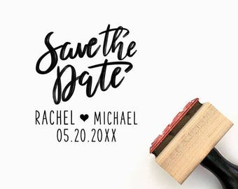 Custom Save the Date Hand Lettered Pre-Designed Rubber Stamp - Branding, Packaging, Party, Invitations, Tags, Wedding - W012