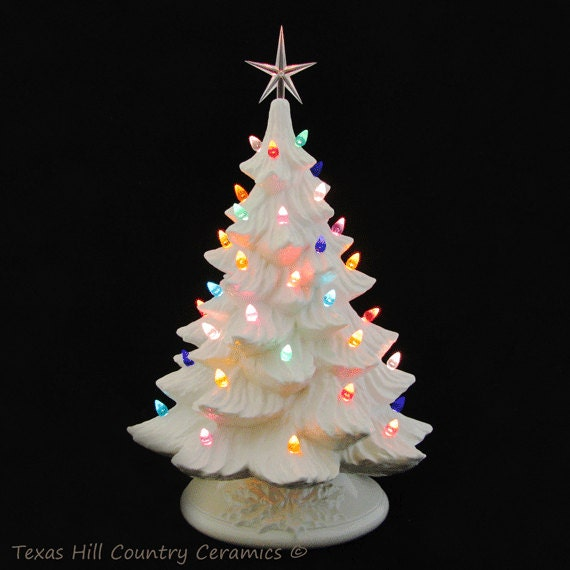 Large Christmas Tree: Large White Ceramic Christmas Tree 18 Inch Tall Color Lights