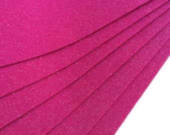 Glitter Fuchsia Pink Felt Sheets - 6 pcs - Eco Fi Craft Felt Supplies