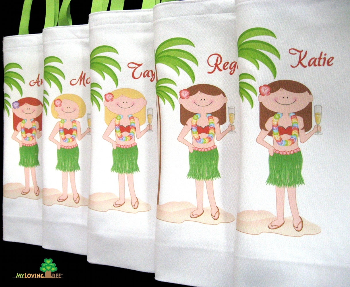 Hawaiian bridesmaids Aloha beach girl canvas beach tote bags