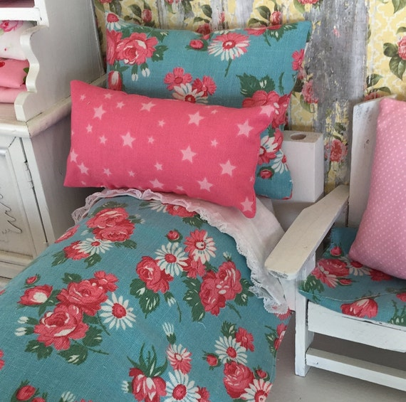 """Doll Bedding Set  and Mattress- Vintage Style Aqua and Pink Floral  11"""" doll sized bedding"""