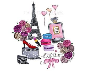 Fashion illustration, Paris wall art, Paris illustration, Eiffel Tower art print, Paris fashion, Chic wall art, Paris bedroom decor