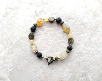 Essential oil diffuser Bracelet, citrine bracelet, lava bead bracelet, yellow and black, November birthstone, mothers day gift, gift for her