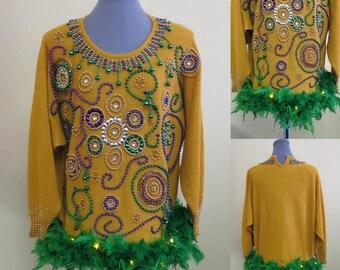 Mardi Gras Top, Mardi Gras Feather Boa Trim, Mardi Gras Tunic,  Mardi Gras Knit Top, Size L, Light UP Sweater, Beaded , NOLA, Fat Tuesday