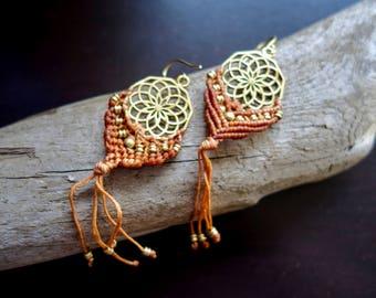 Brass Macrame Earrings | Beige, Sacred Geometry | Bohemian Chic | Flower of Life Dream Catcher