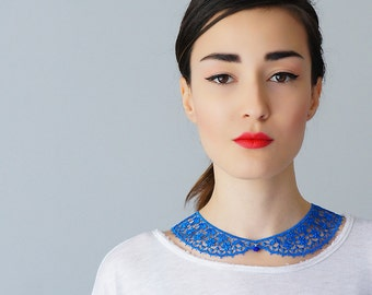 Blue Collar Lace Collar Peter Pan Collar Lace Accessory Women Accessory Gift For Her/ MASERIS