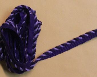 Purple and lavendar 1/4 inch Decorative cord with lip