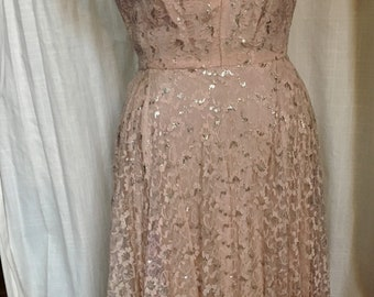 Vintage 1950s Pink and Silver Lace Party Dress Size 12