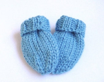 Hand Knit Baby Mittens, Blue Thumb-less Mitts, Newborn Size 3 to 6 Months, Handmade Gift, Warm Winter Infant Clothing, Baby Shower Gift Boy