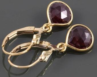 Garnet Earrings. Gold Filled Lever Back Ear Wires. Genuine Gemstone. Gold Framed Garnets. January Birthstone. s18e006
