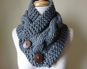 "Knit Neck Warmer, Cable Knit Scarf,  Chunky Warm Winter Scarf in Oxford Grey 6"" x 25"" Coconut Shell Buttons Ready to Ship - Gift for Her"