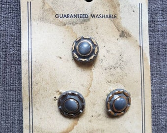 Vintage 1940s Blue Gold Buttons Jewel-Tone Western Germany